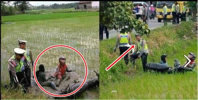 Hindari razia polisi, pemotor ini gugup, kabur malah nyemplung sawah!