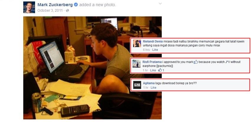 Netizen Indonesia kok gini? Komentari jorok pendiri Facebook