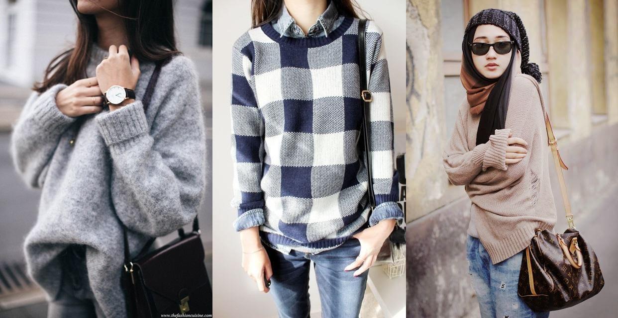 15 Inspirasi simple chic sweater ini cocok kamu kenakan di musim hujan
