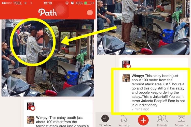 Pria penjual sate ini buktikan Jakarta tak takut aksi teror, salut!