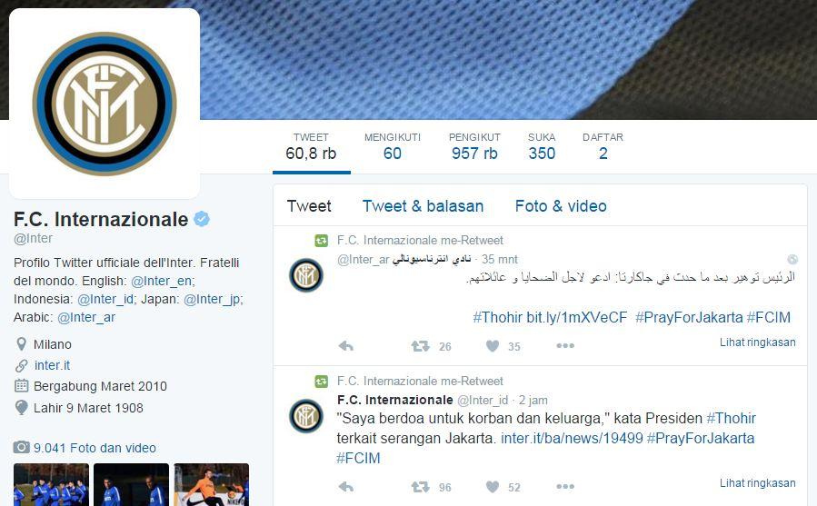 2 Klub bola raksasa Italia ini dukung Indonesia lawan teror Sarinah