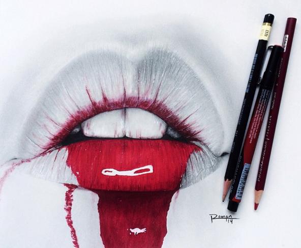 17 Gambar bibir ini cuma dilukis pakai pensil tapi bisa ada efek 3D