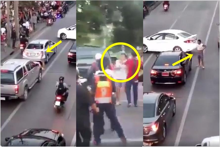 Arogan di jalan raya, pengemudi mobil ini dihajar massa yang geram