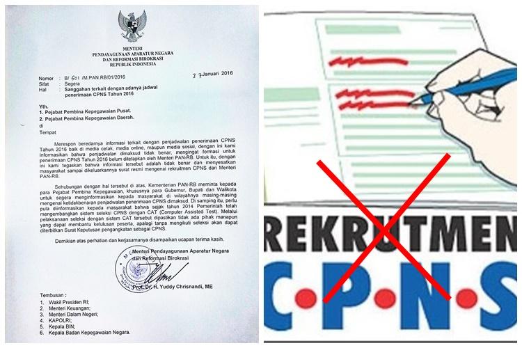Menteri PAN-RB: Info penerimaan CPNS 2016, hoax!