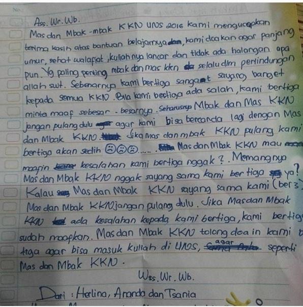 Surat Dari Adik Adik Untuk Mahasiswa Kkn Ini Bikin Haru So Sweet