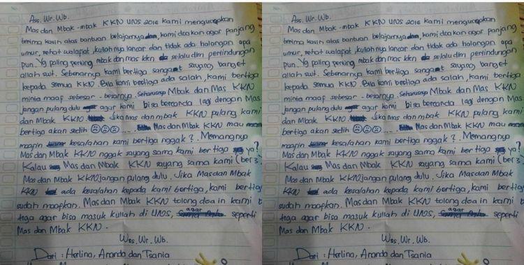 Surat Dari Adik Adik Untuk Mahasiswa Kkn Ini Bikin Haru So