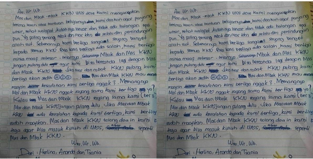 Surat dari adik-adik untuk mahasiswa KKN ini bikin haru, so sweet deh!