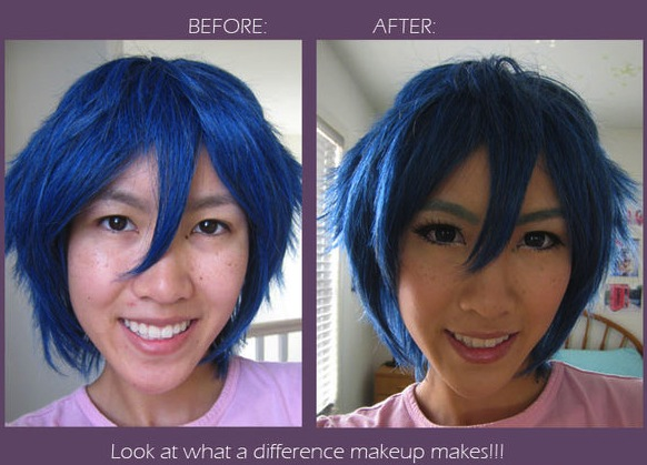 Anime makeup before and after