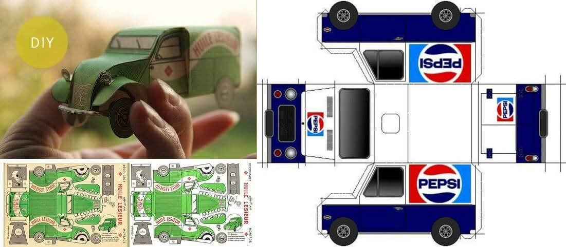 Cetak, lipat & rekatkan, 20 gambar ini sudah jadi mobil 3D mainan