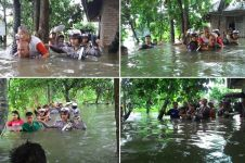 15 Foto heroik polisi evakuasi korban banjir ini tuai simpati netizen