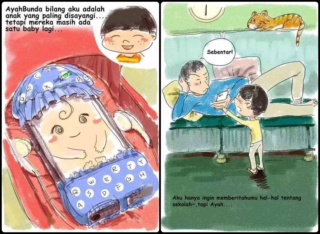 Ilustrasi Menohok Orangtua Pilih Ponsel Ketimbang Anak Bikin Sed
