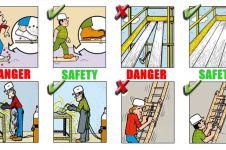 19 Tindakan berbahaya yang paling sering dilakukan pekerja kontruksi