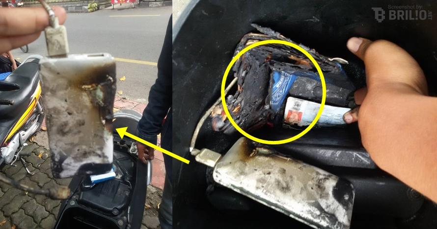 Ditaruh di jok motor, power bank meledak & bakar seisi bagasi