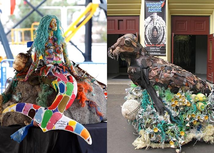 12 Sculpture raksasa yang terbuat dari sampah di pantai, miris!
