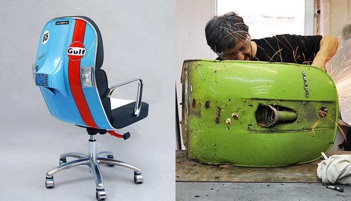 Unik, kursi kerja dari Vespa bekas ini bikin betah lembur di kantor!