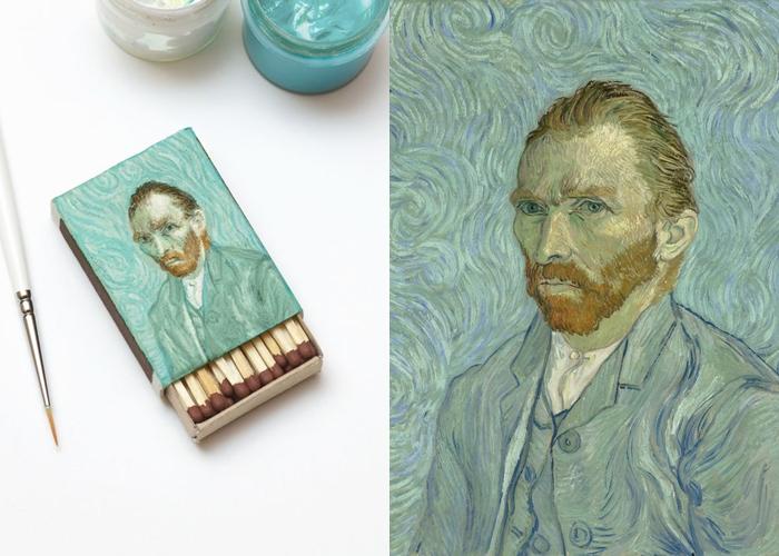 Miniatur lukisan Van Gogh di bungkus korek api, keren!