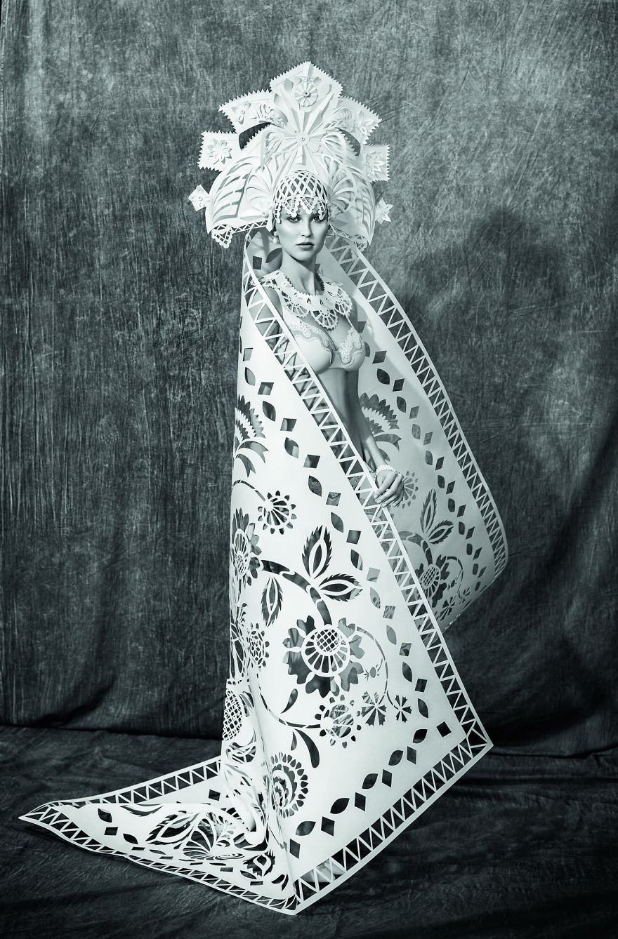Artist turns plain papers into wedding dresses of different cultures