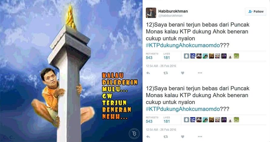 KTP dukungan terpenuhi, Habiburokhman ditagih loncat dari monas!
