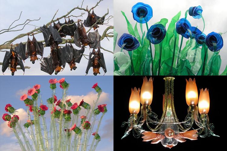 20 Foto inspirasi karya seni manfaatkan botol plastik bekas, keren!