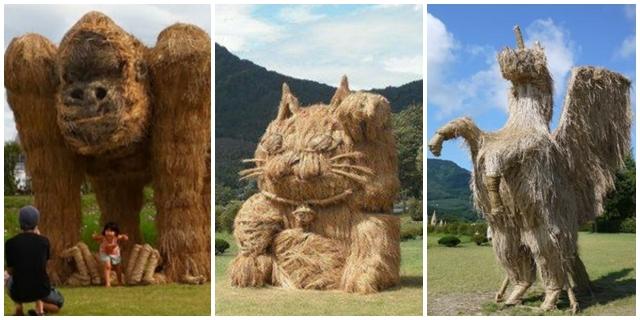 Tak disangka, 15 patung hewan ini dibuat dari jerami, keren!