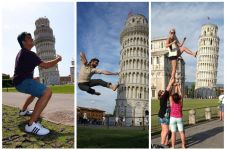 16 Pose kocak turis di Menara Pisa Italia, gini nih kelakuan turis!