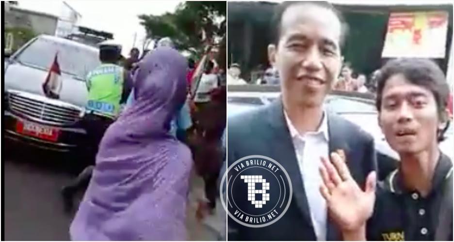 Mobil RI 1 menepi, cowok ini beruntung selfie bareng Presiden Jokowi