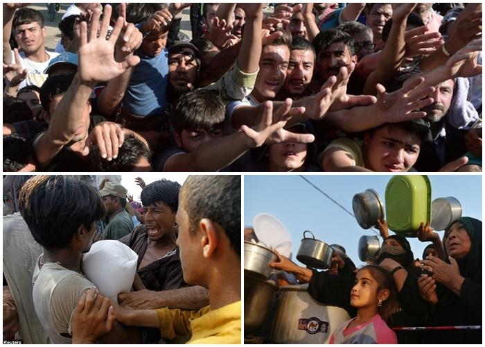 15 Foto ini tunjukkan mirisnya pengungsi berebut makanan, duh!