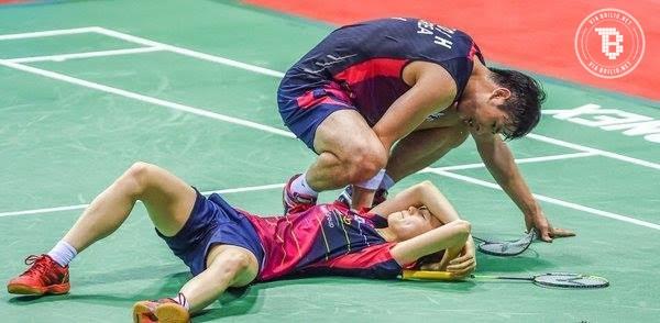 Terkena smash keras pasangannya, atlet Korea Selatan ini kesakitan