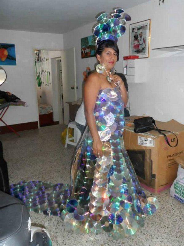 Платья из дисков своими руками фото