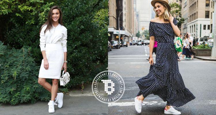 Style dress dengan sepatu kets wanita