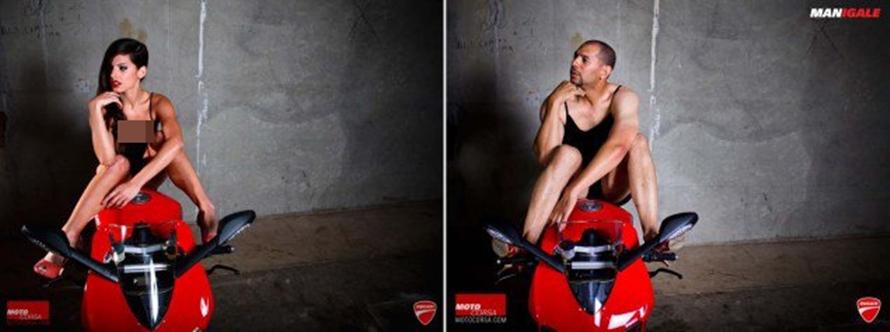 10 Pose cowok tirukan gaya model cewek dengan motor sport, bikin geli!