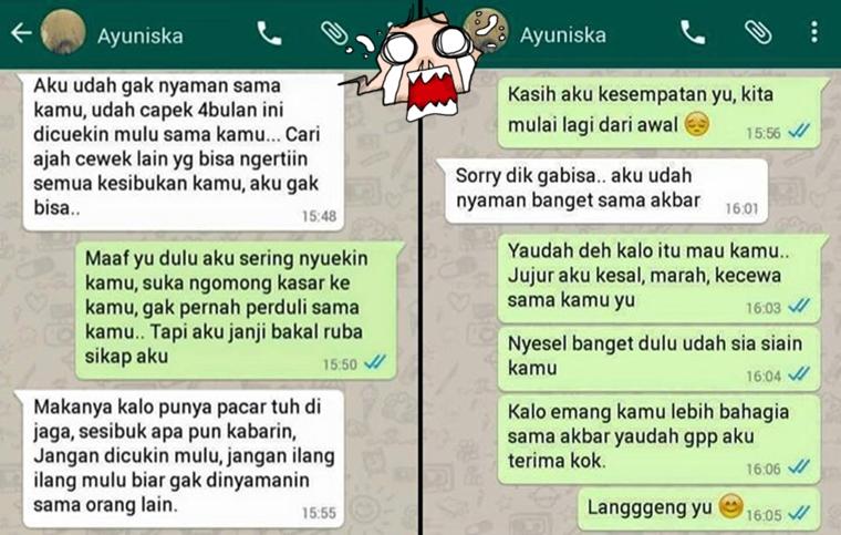 14 Chat tunjukkan penyesalan karena pacar ditikung teman, hiks..hiks..