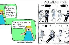 18 Ilustrasi gambarkan beratnya perjuangan introvert, kamu ngalami?