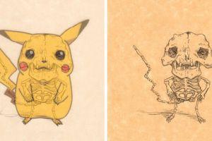 10 Ilustrasi penampakan kerangka tubuh tokoh kartun populer, keren!