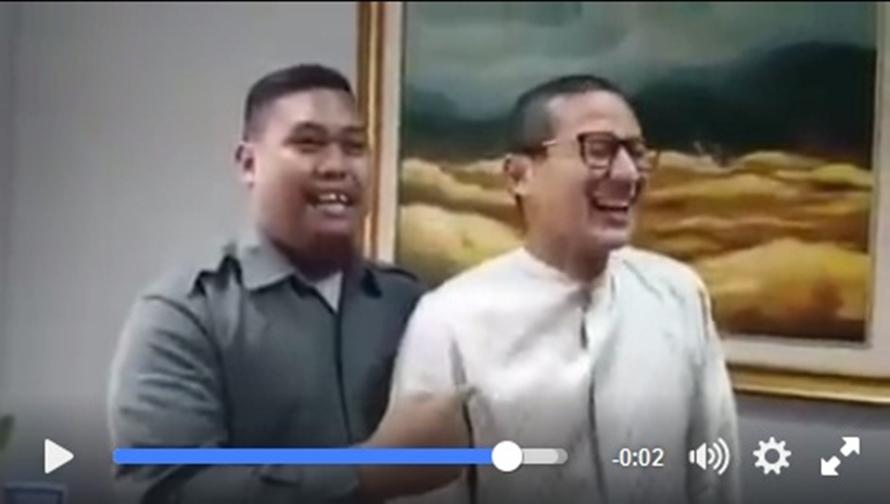 Sandiaga Uno tertawa ketika didoakan 'si ajudan pribadi', kenapa ya?