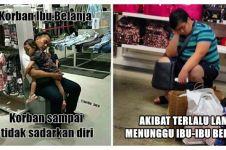 11 Foto tunjukkan saat pria jadi korban shopping ibu-ibu, kasihan!