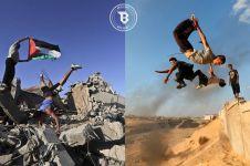 10 Potret hebatnya pemuda Palestina parkour di reruntuhan bangunan