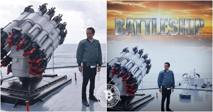4 Editan foto kunjungan Presiden Jokowi ke Natuna, ala film populer!