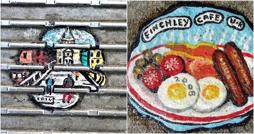 22 Lukisan ini dibuat dari sampah permen karet yang nempel di jalanan