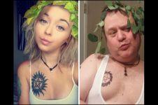 6 Foto kocak ayah ikuti gaya selfie anaknya bikin ngakak!
