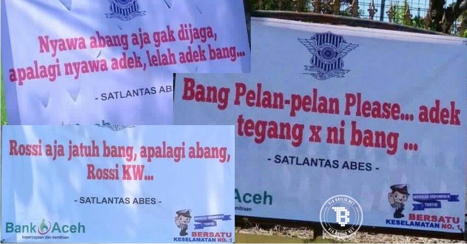 7 Spanduk peringatan lalu lintas di Aceh Besar ini kocak banget, unik!