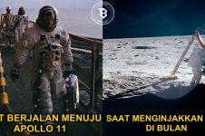 10 Foto langka detik-detik Neil Armstrong menginjakkan kaki di bulan