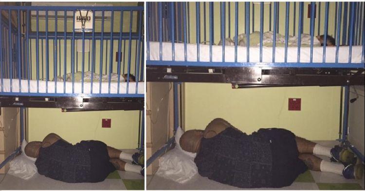 Ayah ini tidur di bawah keranjang bayinya di rumah sakit, mengharukan!