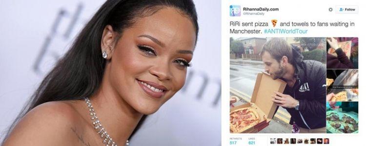 Wow, Rihanna bagi-bagi 1 ton pizza untuk fans, ada apa ya?