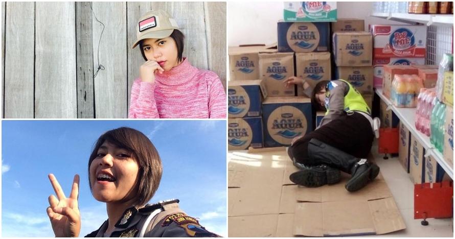 18 Foto cantiknya Polwan tidur di lantai minimarket & hebohkan netizen