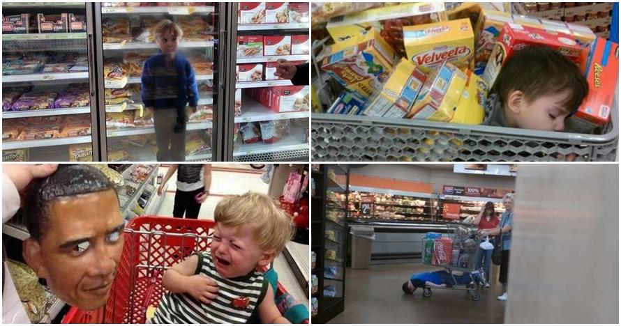 20 Foto kelakuan konyol orangtua dan anaknya di pusat perbelanjaan