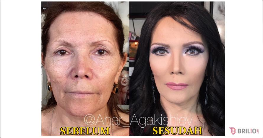 10 Transformasi makeup wanita tua jadi cantik ini bikin kamu takjub!