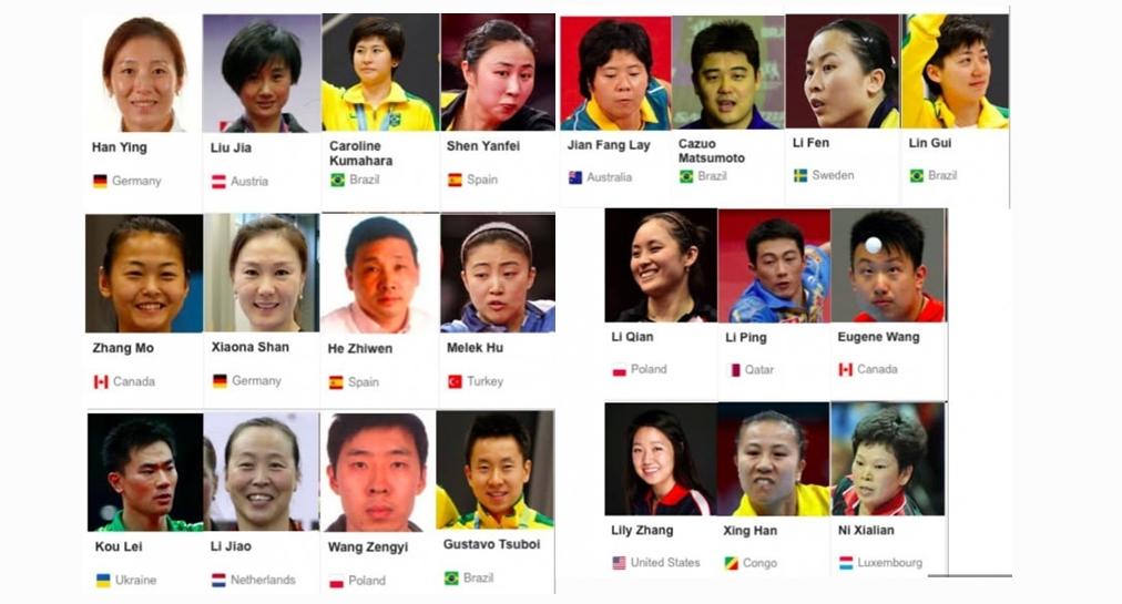 Atlet tenis meja dari berbagai negara ini semua kelahiran China, wow!