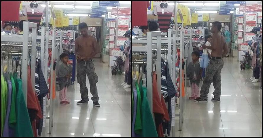 Alasan bapak ini nggak pakai baju di pusat perbelanjaan bikin terharu