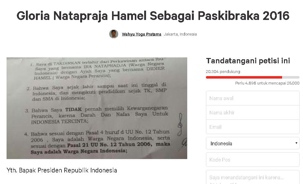 Petisi dukung Gloria jadi Paskibraka ditandatangani puluhan ribu orang